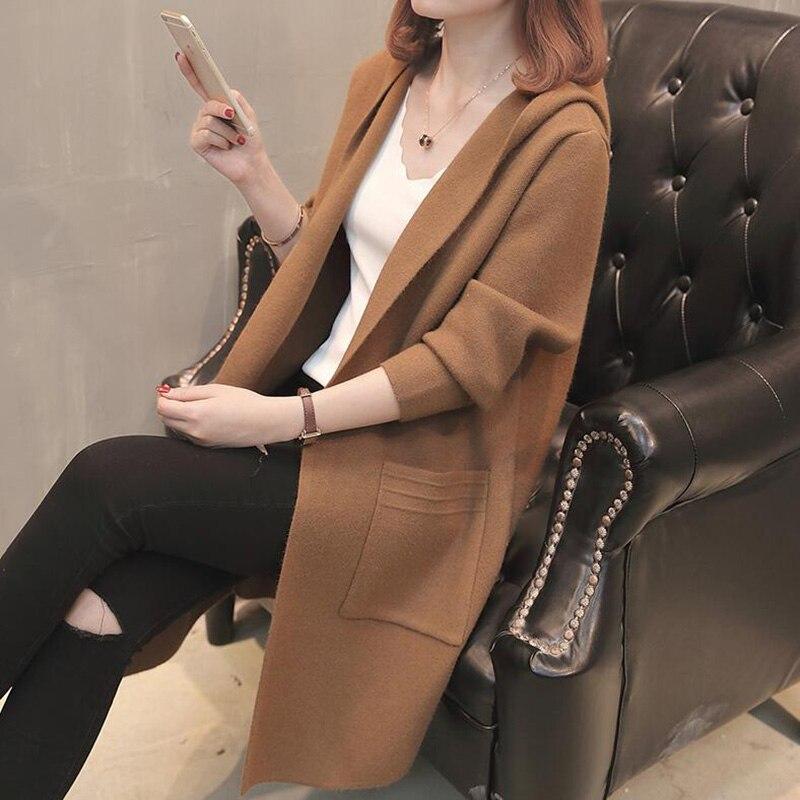 Nouveau Coréenne En Manteaux La Chandail brown Plus Veste Taille 2018 Maille De gris rouge Femmes Chaud Épais Noir bourgogne Automne Capuchon Femme Cardigan Longue Section Lâche À P8Xn0wONk
