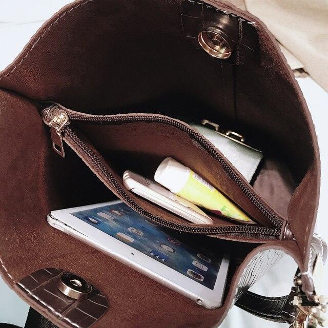 Ansloth Fashion Patchwork Crossbody Bag For Women Shoulder Bags Crocodile Design Solid Women's Bags Luxury PU Leather Bag HPS405