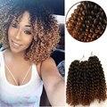 Malí Bob de Pelo 8 inch Onda de Agua rizado Trenzas Ganchillo Crochet Hair Braiding 3 Unids/set Enrollamiento Rizado Kanekalon Trenza Del Pelo Ombre Synthet