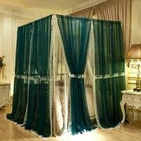 150*200 см/180x200 см москитная сетка элегантное кружево полиэстер насекомое навес балдахин занавес темно зеленый комаров балдахин над кроватью