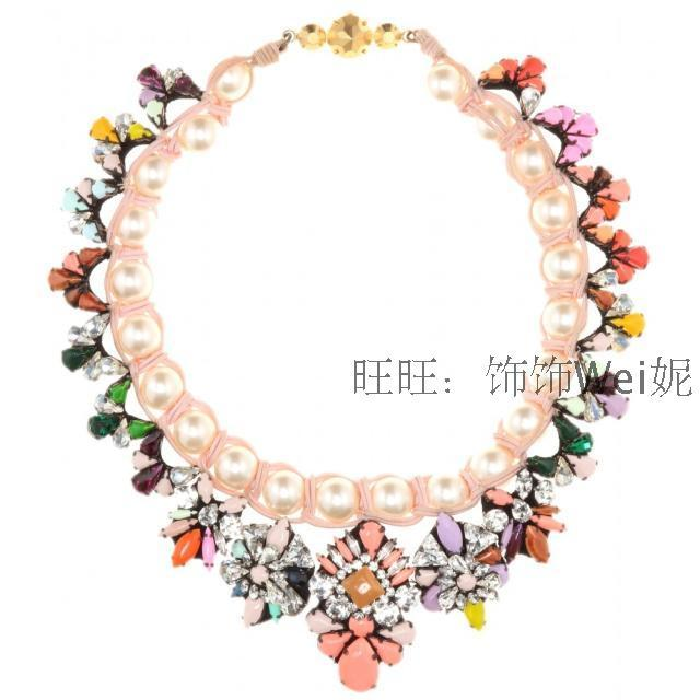 Shourouk colorful crystal gem color block decoration pearl knitted necklace