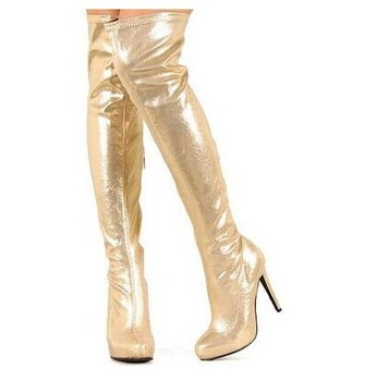 2018 Spring Autumn boots newest fashion women shoes over the knee sexy high heels platform boots women thigh thin boots gold