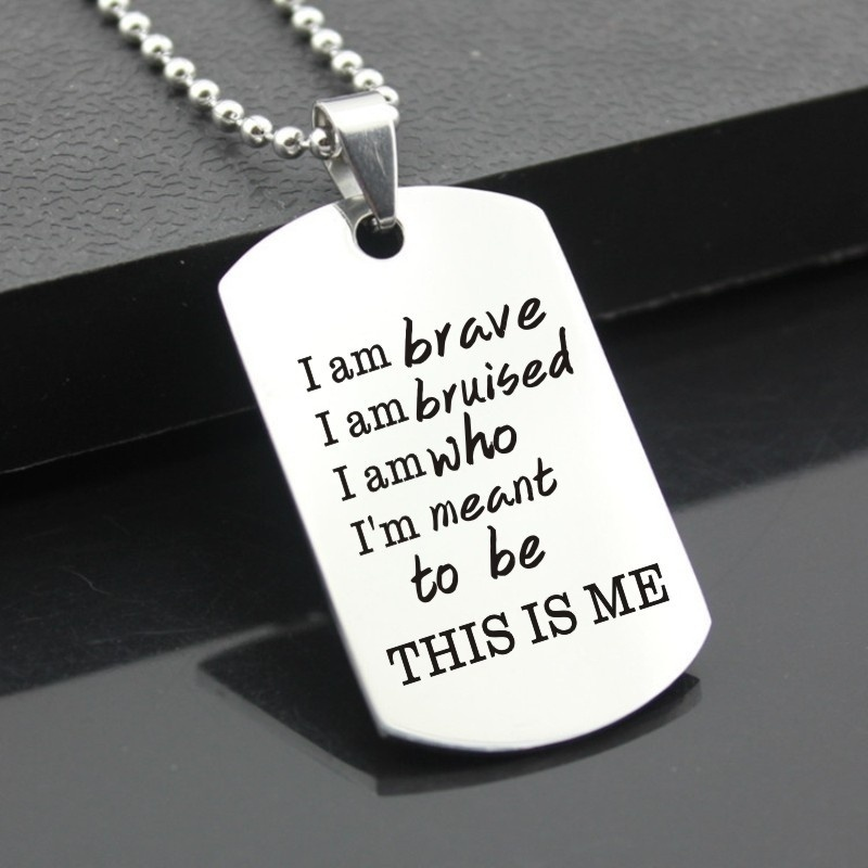 I AM BRAVE This Is Me Greatest Showman Song Music Lyrics Quote Pendant Necklace