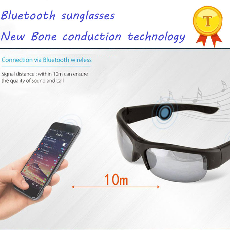 60fee1455c New Fashion High Technology Wireless Waterproof Sunglasses With Bluetooth  Bone Conduction Glasses for iPhone iPad Smartphones
