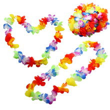 10Pcs NEW Hawaiian Colorful Leis Beach Theme Luau Party Flower Necklace Garlands For Decoration