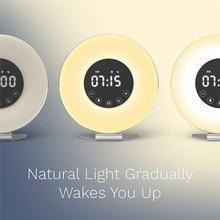 NEW Wake Light With Sunrise Simulation Alarm Clock And Sunset Simulation Sleep Light Good Night Light Sound Radio Relogio D20 недорого