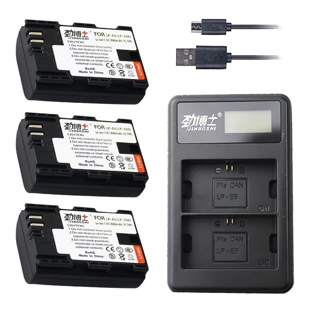 Batterien Lcd Dual Usb Ladegerät Für Canon Eos 6d 7d 5ds 5dsr 5d Mark Ii 5d 60d 60da 70d 80d Sanft 3 Pc Lp-e6 Lp E6 Lp-e6n Batterie 2600 Mah