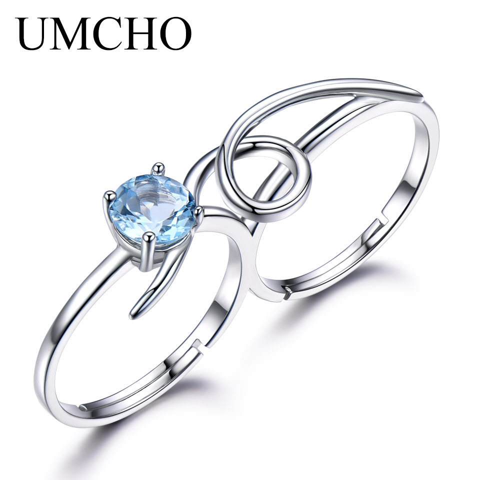 UMCHO 1ct Natural Sky Blue Topaz Ring Engagement Wedding Ring 925 Sterling Silver Rings For Women Anniversary Vintage Jewelry vintage cute 925 sterling silver clover cross 7a natural moonstone rings for women wedding engagement jewelry finger bague aneis