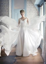$10 off per $100 order A-127 New Arrival V-neck Zipper Floor Length Slim Beach Wedding Dress 2012