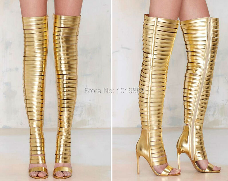 d77404de6ae Brand Design Sexy Slim Tight Gladiator Boots Gold Blinded Thigh High Heels  Strap Deep Toe Stiletto Heel-in Over-the-Knee Boots from Shoes on  Aliexpress.com ...