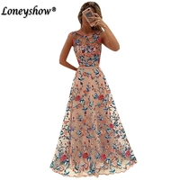 2018 Women Vintage Vestido Longo Floral Embroidery Maxi Dress Women Pink Purple Elegant Evening Party Long