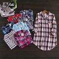 Venta caliente de la Primavera de manga Larga a cuadros camisas de dormir para las mujeres simple 100% sleepshirts camisón Sexy mujer ropa de dormir de algodón cepillado