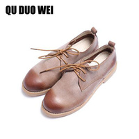 QuDuoWei Genuine Leather Flat Shoe 2017 Vintage Women Shoes New Arrival Lace Up Casual Work Real