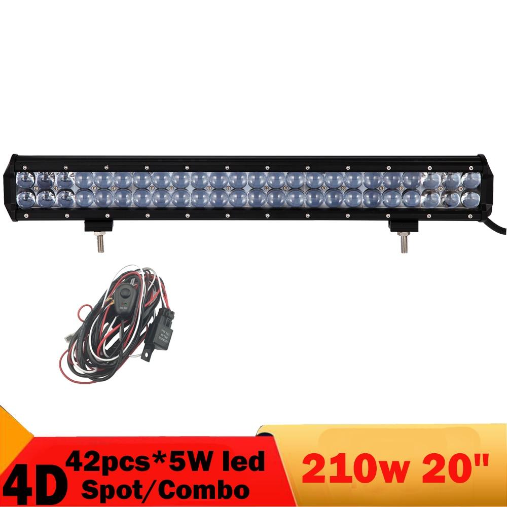 4D 210W Led Work Light Bar 20 Inch Offroad Fog Headlight 4X4 4WD Auto Truck Boat Pickup Marine Working Light ATV UTB Cab 12V 24V