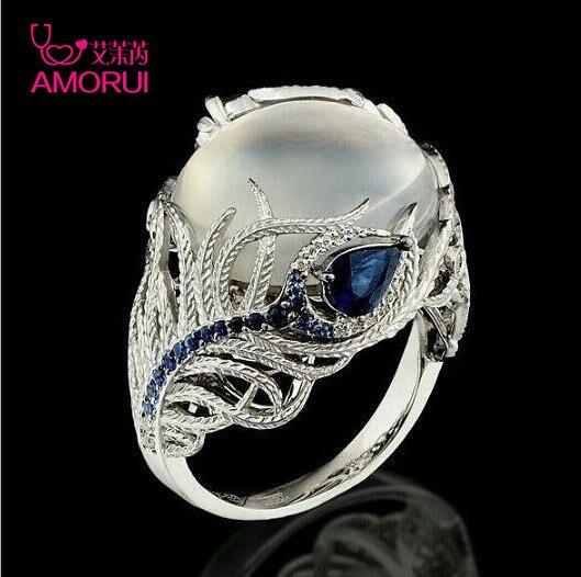 AMORUI Benutzerdefinierte Kreative Feder Silber Ring Für Frauen Vintage Blue Opal Blume Mondstein Engagement/Hochzeit Ringe Dropshipping