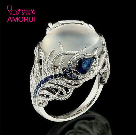 AMORUI Custom Creative Feather Silver Ring For Women Vintage Blue Opal Flower Moonstone Engagement/Wedding Rings Dropshipping