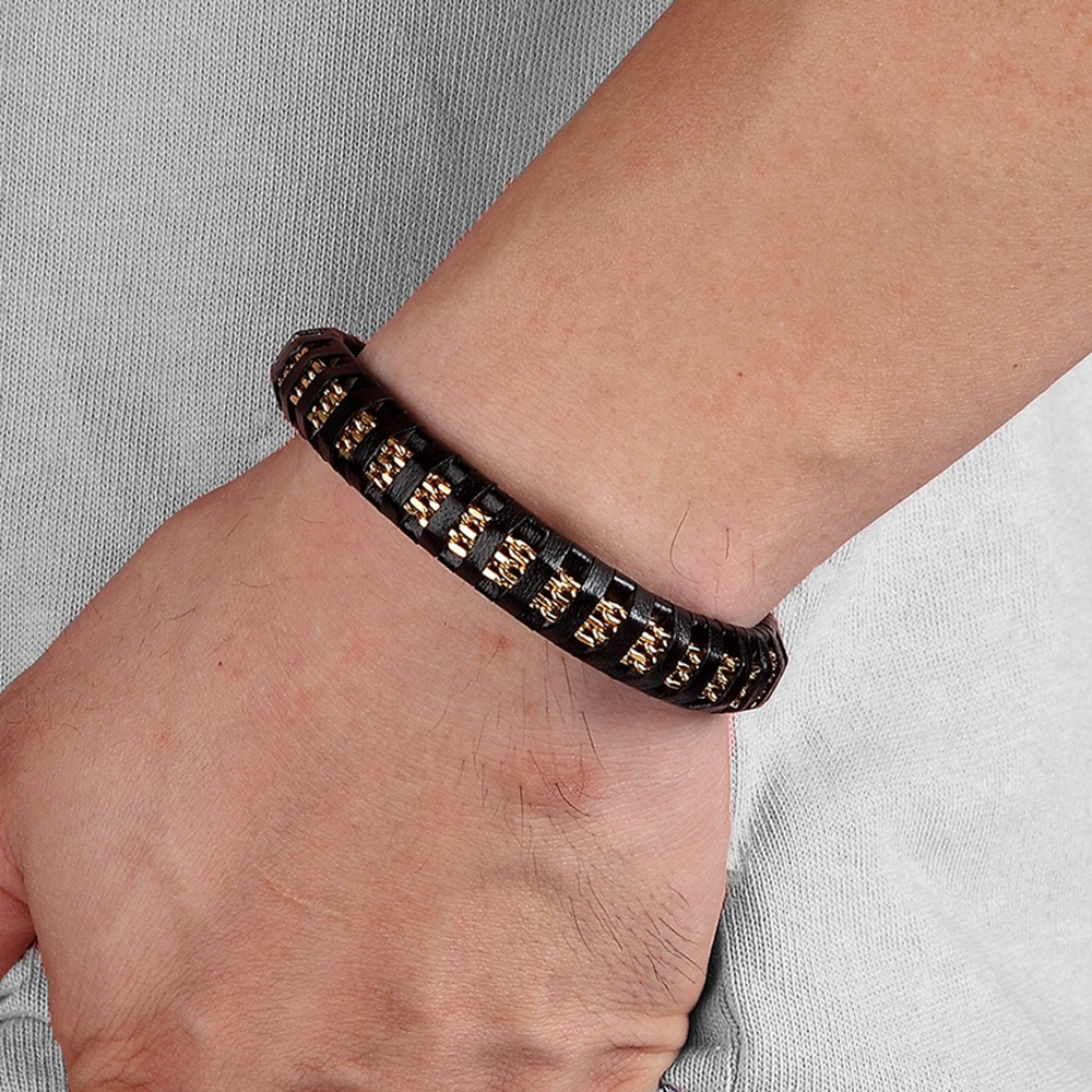 TYO New Model Mens Gifts Pulseira Jewelry Silver Color Gold Black Wide Genuine Leather Bracelet with Stainless Steel Chain