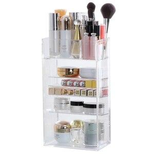Image 5 - Nowy przezroczysty akrylowy organizator na przybory do makijażu lakier do paznokci szminka kosmetyczny uchwyt na próbki Makeup Brush Make Up Storage Organizer Box półka