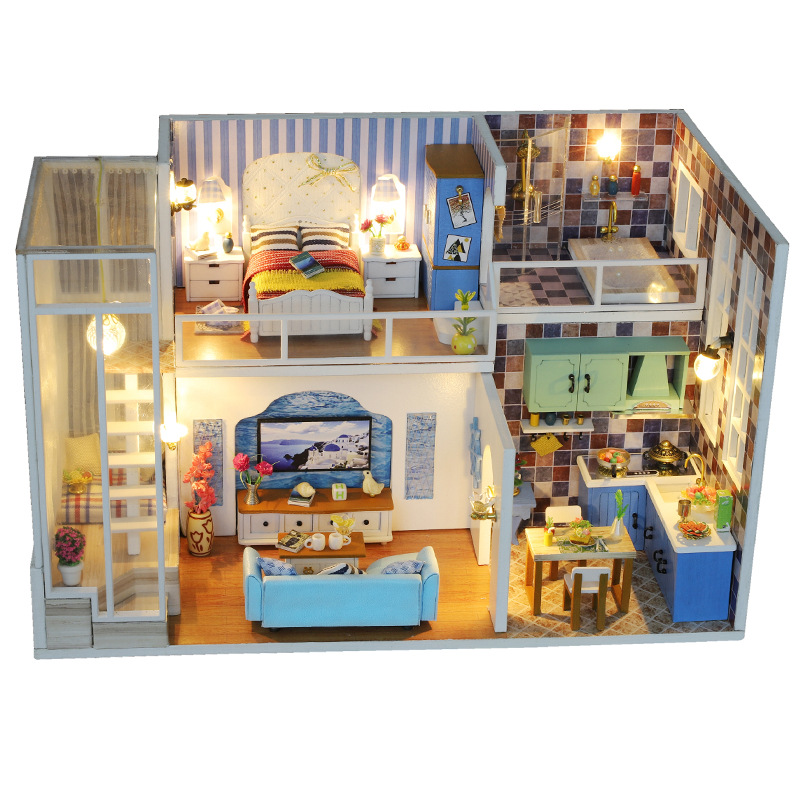 Dollhouse Miniature Dollhouse with Furniture Suite Chalet  Children's Mini Toy  New Year Christmas Gift|lego police|compatible lego|police station - title=