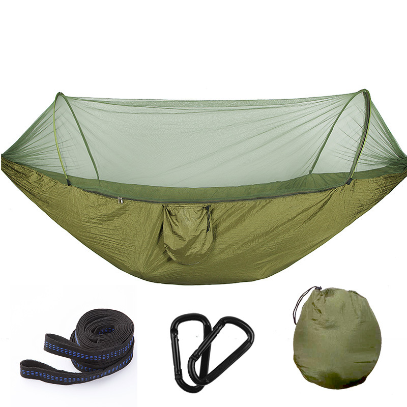 Automatic mosquito net hammock outdoor single double nylon parachute cloth camping mosquito hammock swing недорго, оригинальная цена