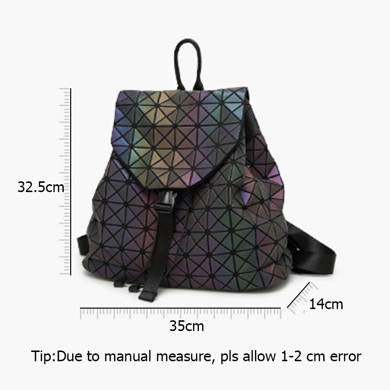 Image 5 - Women Geometric Backpack Luminous Female Evening Bag Diamond Sequins PU Laser Back Pack Lady Casual Plaid Bao Mochila BP0232-in Backpacks from Luggage & Bags