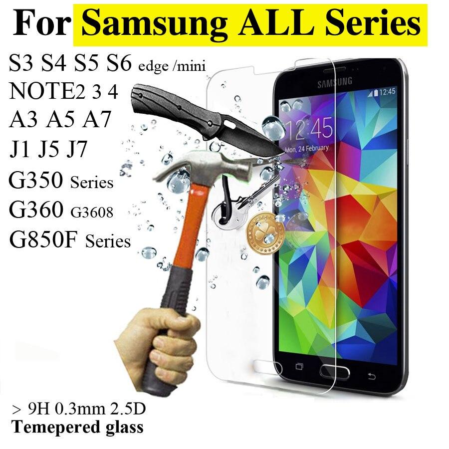 Hd ultra fino protetor de tela de vidro temperado para samsung galaxy series S6 S5 S4 S3 mini A3 A5 A7 telefone Capa protetora filme