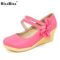 RizaBina femmes wedge chaussures à talons hauts bowtie casual printemps qualité chaussures plate-forme à talons hauts pompes talons chaussures taille 34-39 P17136