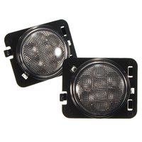 Pair 12V Clear Amber Parking Left Right Side Lamp Marker LED Light Front For Fender Jeep