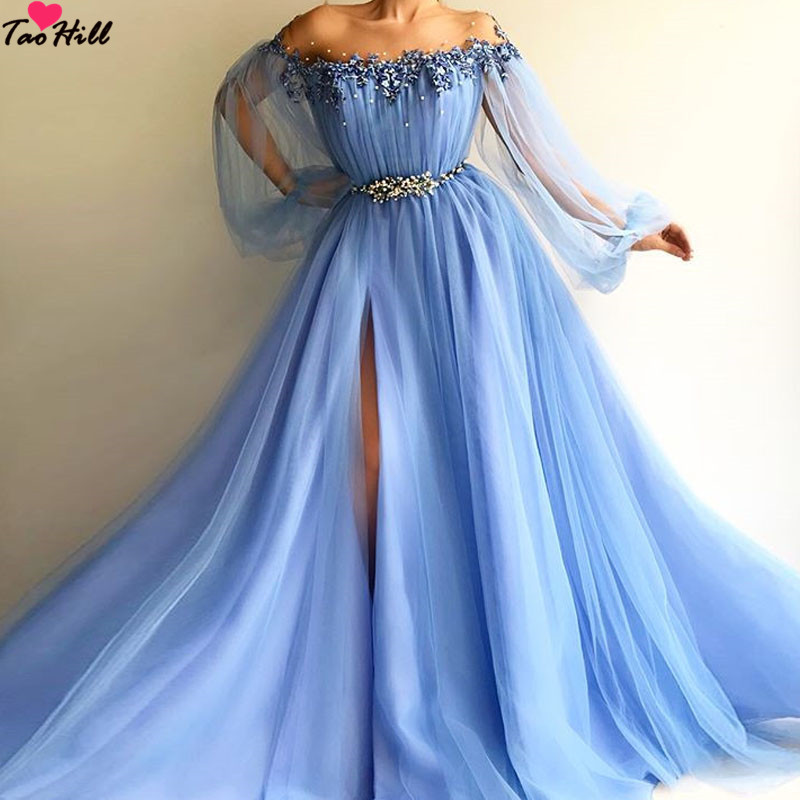 TaoHill 2019 Evening Dress Light Blue Beaded Long Sleeves Pleats Pearls Formal Long Sexy Evening Gowns Applique Robe De Soiree