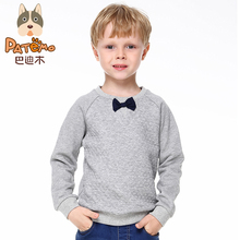 PATEMO Kids Boys Hoodies Knitted Cotton Spring&Autumn Sweatshirts For 4T~10T O-Neck Full Sleeves Gray Bow Children Boys Clothes