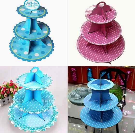 3 Tier Wedding Birthday Cardboard Cupcake Paper Stand Plates Party Muffin Pink Blue Color Cake Holder Lunch Tea Time