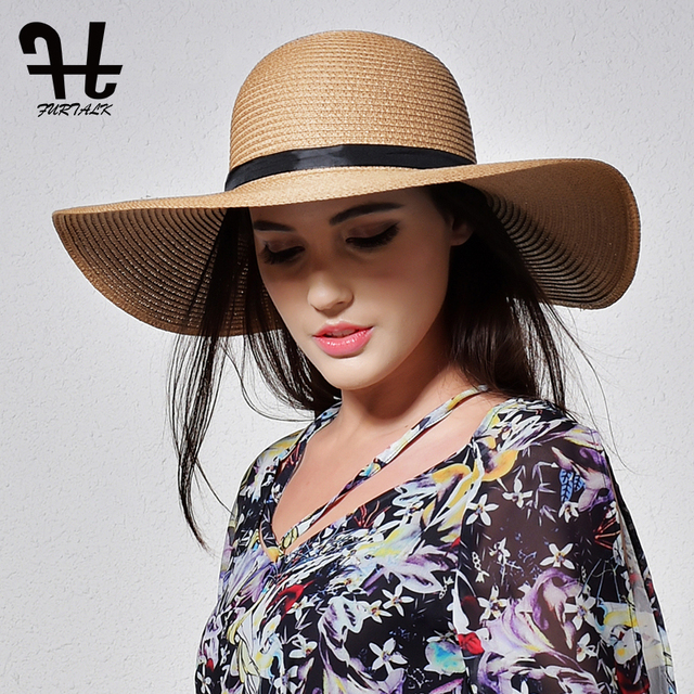 ab452aa59df52a FURTALK Summer Straw Hats for Women Fashion Design Women Beach Hat Foldable Wide  Brim Sun Hat