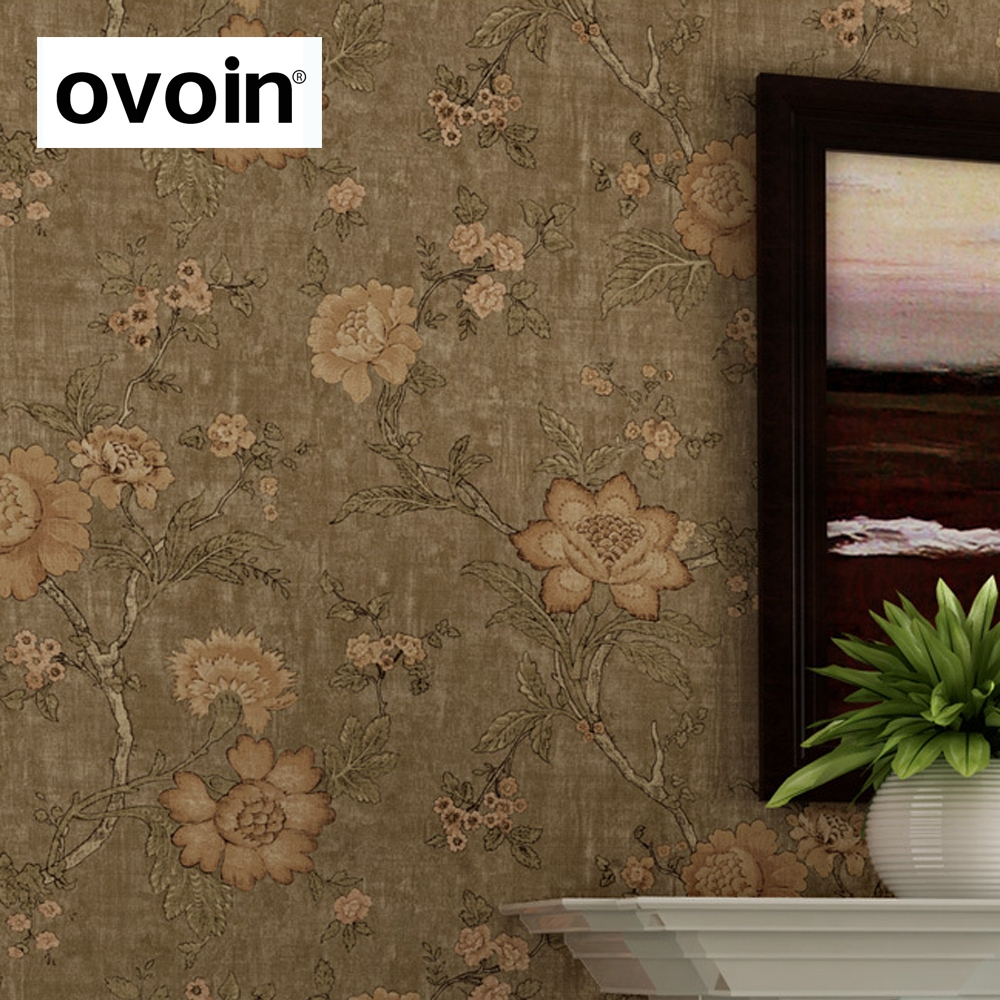 Country gardens wallpaper - Vintage American Country Garden Flowers Non Woven Oil Painting Design Floral Wallpaper For Walls Decorative