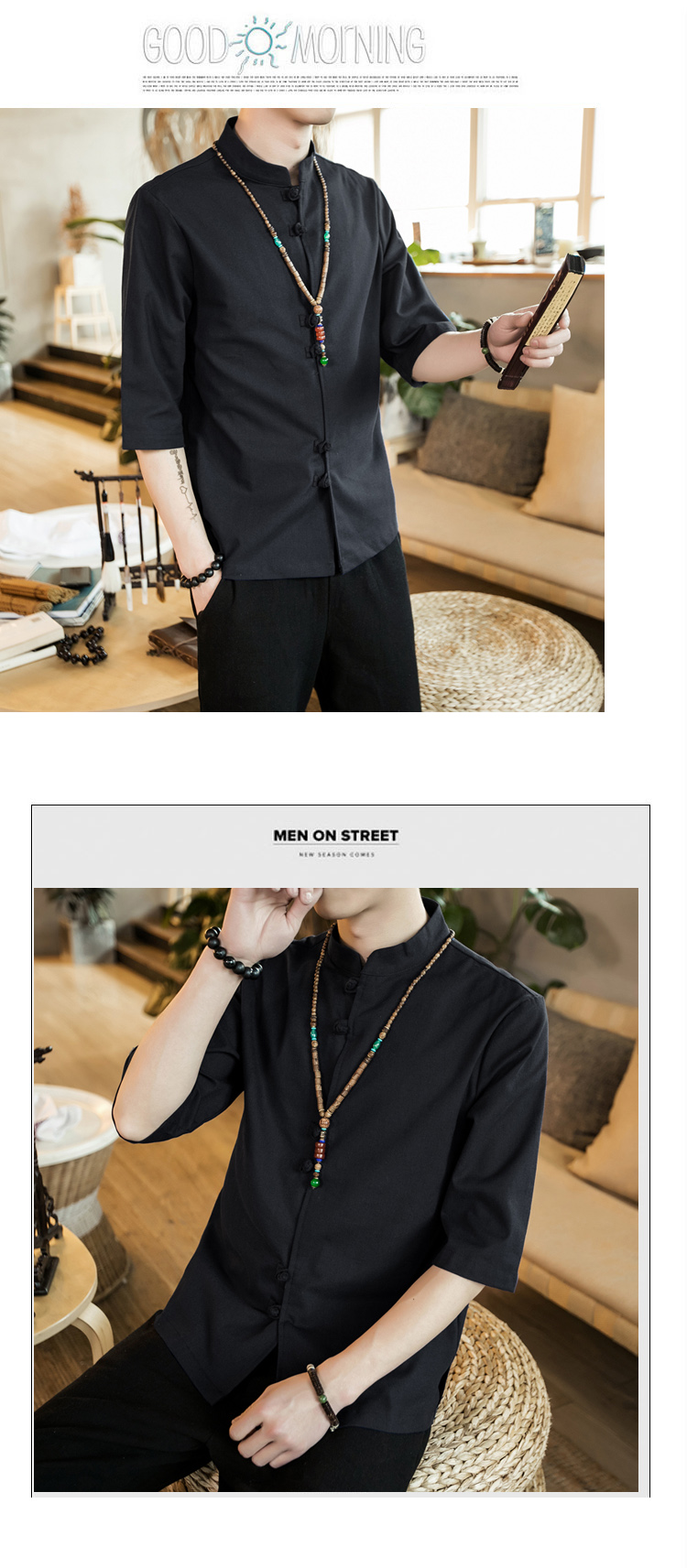 Chinese style summer fashion man's Pure color linen Short sleeve shirt high-grade male comfortable slim fit leisure shirt M-5XL 53
