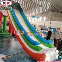 Custom giant air dock inflatable water slide, inflatable yacht boat water slide