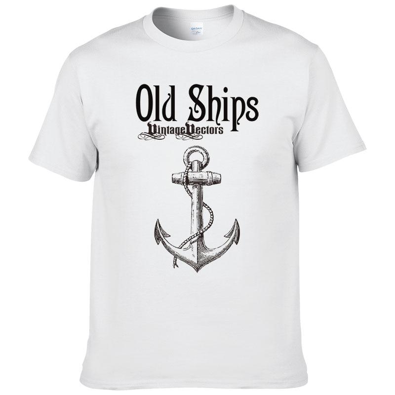 2017 New Mens Summer Anchor Printed Cotton   t     shirt   Men short sleeves tops tees Casual Clothing #009