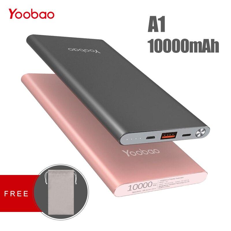 Yoobao A1 Puissance Banque 10000 mah Charge Rapide Pau Banque Portable Chargeur Externe Batterie PowerBank Pour iPhone X 8 7 pour Xiaomi Mi