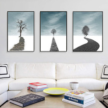 HAOCHU Nordic Landscape Canvas Print Decorative Painting Wall Art Poster Minimalist Road And Tree Living Room Study Hotel Mural