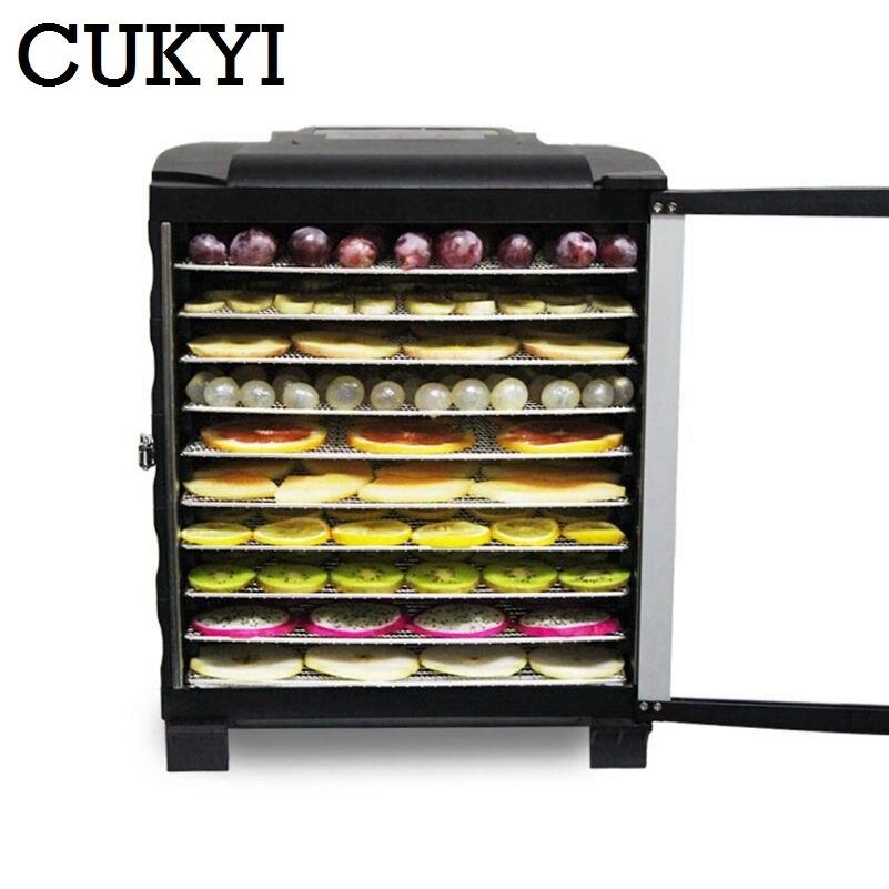CUKYI Commerciale Elettrico di Frutta Secca Essiccatore Snack Pet Food Dryer Verdura Erbe a base di Carne Macchina di Asciugatura Ad Aria 10 Vassoi 110 V 220 V