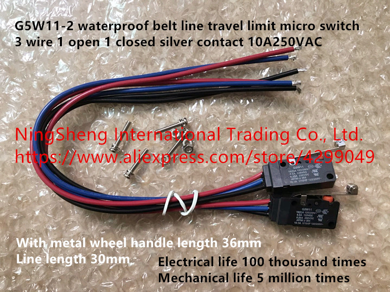 Original new 100% G5W11-2 waterproof belt 3 line travel limit long handle micro switch 10A250VAC цена