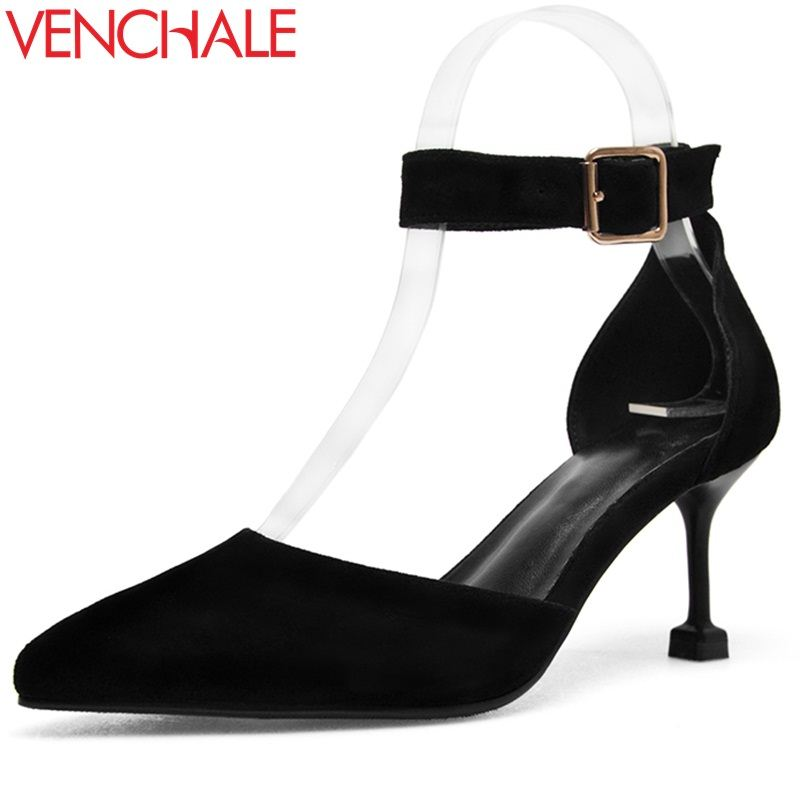 VENCHALE women shoes 2018 summer new sandals fashion heels height 7 cm three colors thin heels cover heel buckle strap shoes venchale two heels options sheepskin