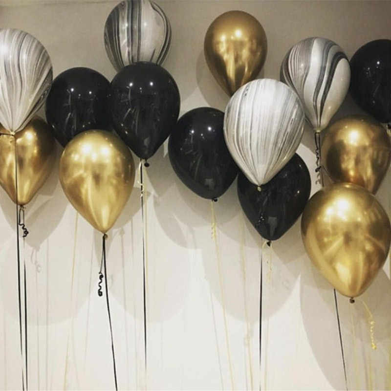 10pcs Gold Black Latex Balloon Marble Metallic Balloon Chrome Balloons Wedding Adult Birthday Party Photography Props Decor