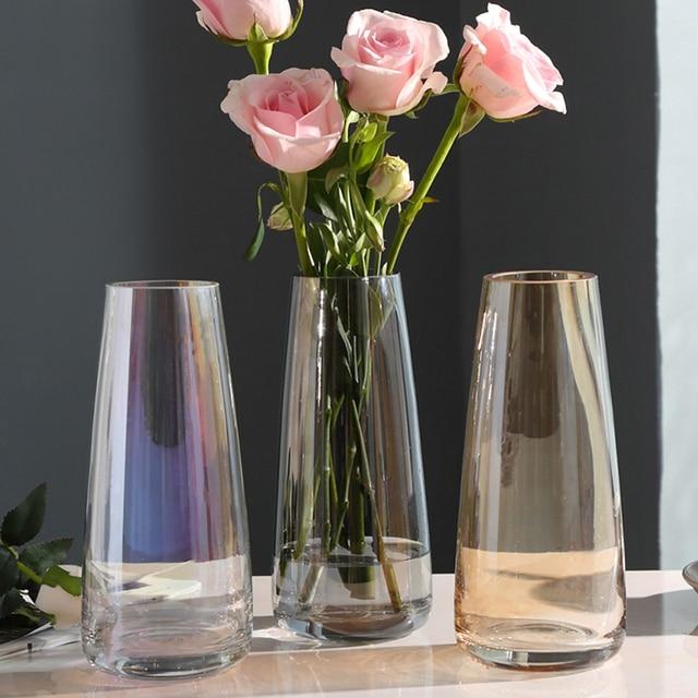 אירופה זכוכית פרח אגרטל הבית מודרני קישוט שולחן אגרטל לחתונה אביזרי קישוט
