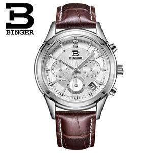 Image 3 - Switzerland BINGER Mens Watch Luxury Brand Quartz waterproof Genuine Leather Strap auto Date Chronograph Male Clock BG6019 M