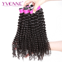 YVONNE Kinky Curly Virgin Hair 3 Bundles Brazilian Hair Weave Bundles 100% Human Hair Natural Color