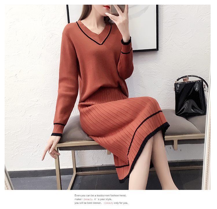 Autumn Winter Knitted Two Piece Sets Outfits Women V-neck Sweater And Skirt Suits Tracksuits Elegant Casual Fashion 2 Piece Sets 75