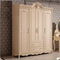 Quatro porta do armário europeu moderno mobília do quarto guarda-roupa todo guarda-roupa francês pfy10176