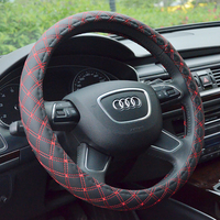 Factory SALE PU Leather Steering Wheel Cover New Korean Plaid For Auto Car With 2 Colors For Choice Four Seasons General