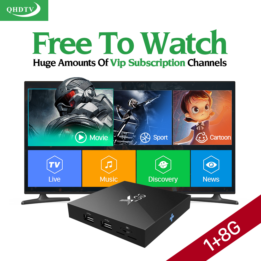 Smart X96 Android 6.0 TV Set Top Box S905X Media Player + Arabic IPTV French Italy Europe IPTV Subscription 1 Year QHDTV Account цена 2016