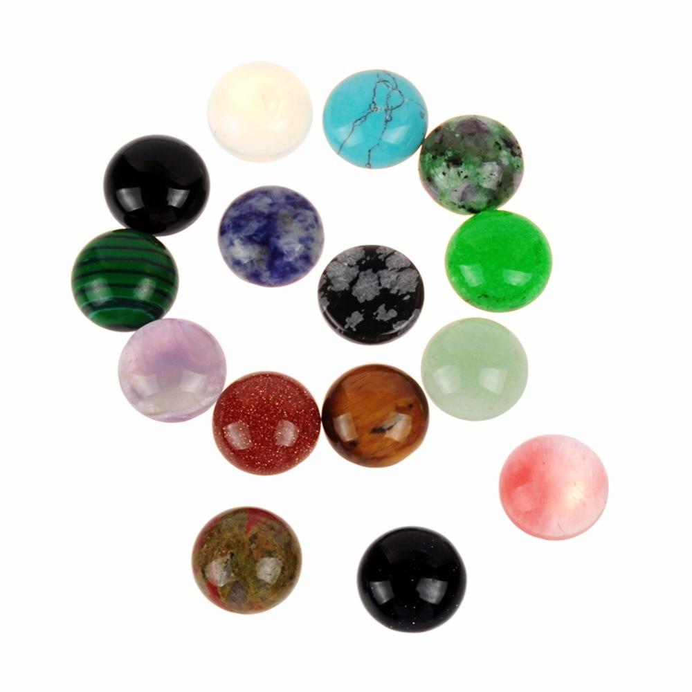 Druzy Wholesale Lot 36pcs Random Natural Mixed Round CAB CABOCHON Stones Snowflake Obsidian Green Beads Diameter 8mm 10mm